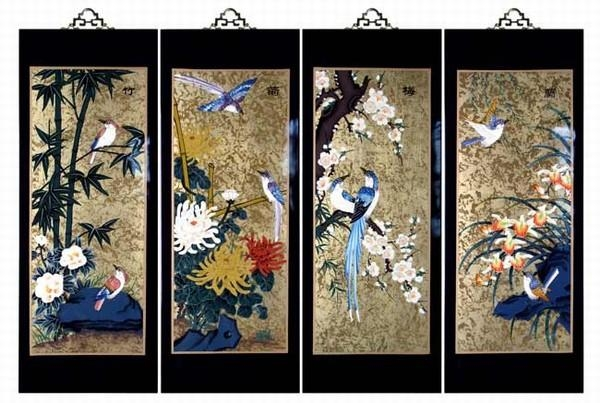 Set Of 4 Oriental Lacquered Painting Wall Art Plaques (Four Throughout Japanese Wall Art Panels (View 9 of 20)