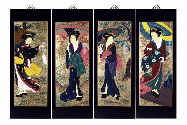 Set Of 4 Oriental Lacquered Painting Wall Art Plaques (Japanese Regarding Japanese Wall Art Panels (Image 16 of 20)