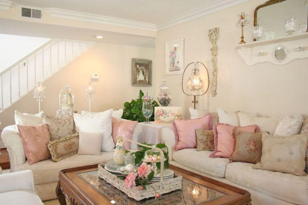 Shabby Chic Family Room With Sectional Sofa And Cushions Pertaining To Shabby Chic Sectional Sofas (Image 14 of 20)