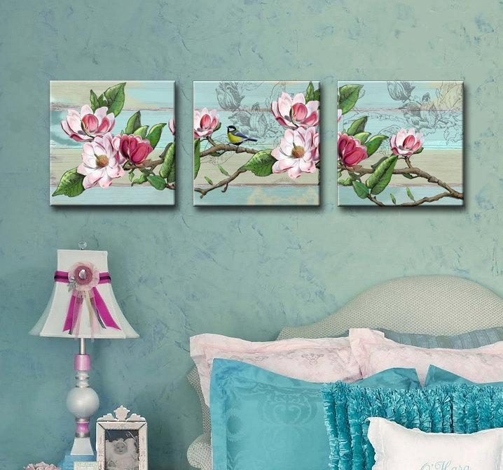 Shabby Chic Set Of 3 Canvas Art 12X12 Girls Room Wall Art With Shabby Chic Wall Art (Image 12 of 20)