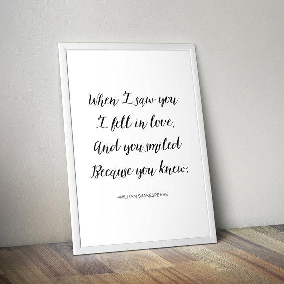 Shakespeare Love Quote Calligraphy Poster Digital Download For Shakespeare Wall Art (Image 13 of 20)