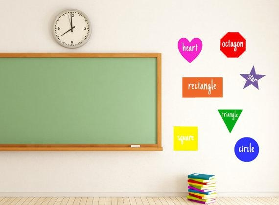 Shapes Teacher Vinyl Decal Classroom Classroom Decor For Classroom Vinyl Wall Art (Image 17 of 20)