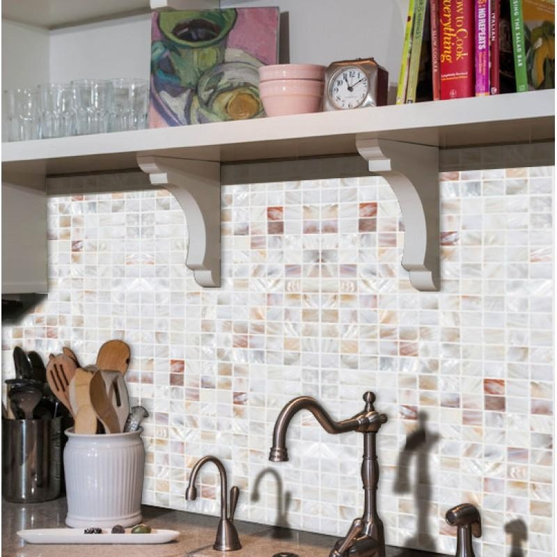 Shell Tiles Natural Mother Of Pearl Tile White Kitchen Backsplash Regarding Mother Of Pearl Wall Art (View 20 of 20)