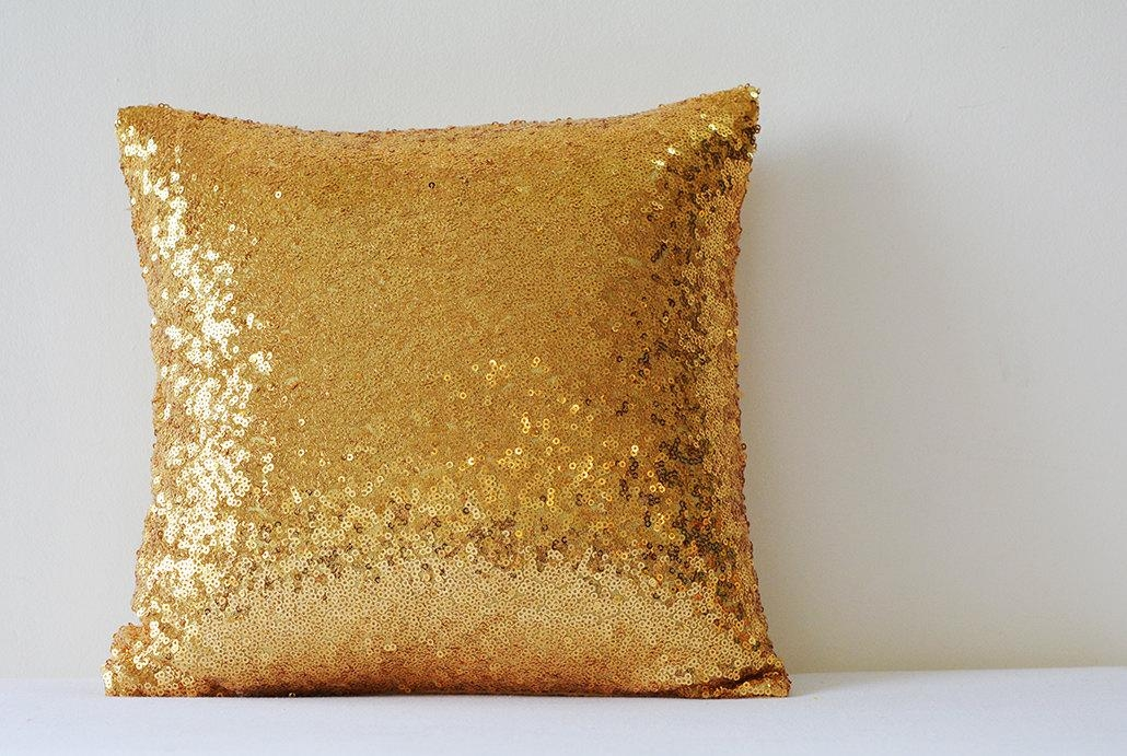 Shiny 24 Ct Gold Pillow Cover Metallic Gold Cushion Cover For Gold Sofa Pillows (Image 16 of 20)