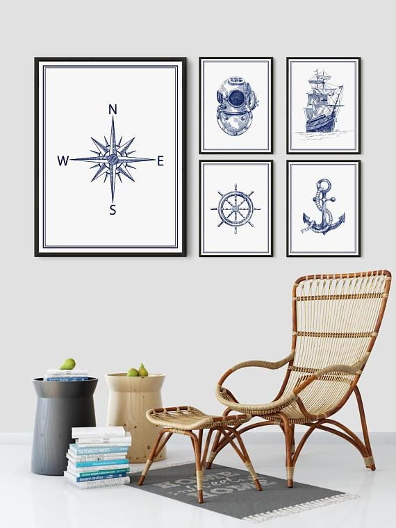 Ship Print Blue Boat Wall Art Nautical Art Old Boat Poster Pertaining To Boat Wall Art (View 8 of 20)
