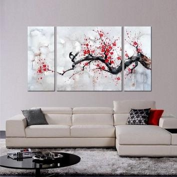 Shop Cherry Blossom Painting On Wanelo Throughout Red Cherry Blossom Wall Art (View 2 of 20)