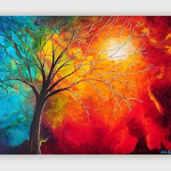 Shop Large Orange Abstract Canvas Art On Wanelo Pertaining To Red And Yellow Wall Art (View 9 of 20)