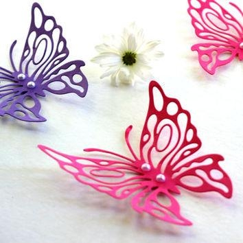 Shop Paper Butterfly Wall Art On Wanelo Pertaining To Pink Butterfly Wall Art (Image 19 of 20)