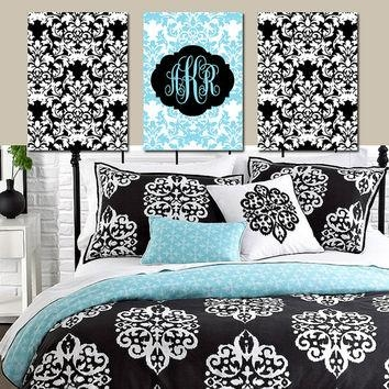 Shop Set Of Three Wall Art On Wanelo Pertaining To Black And White Damask Wall Art (View 2 of 20)