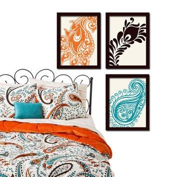 Shop Turquoise Wall Picture On Wanelo With Orange And Turquoise Wall Art (Image 18 of 20)