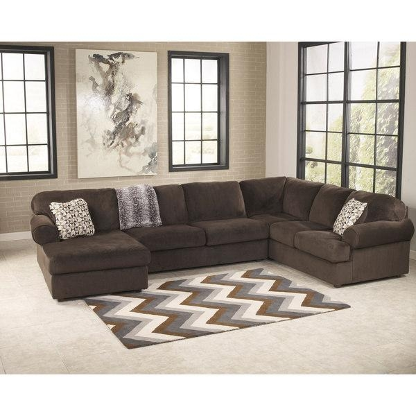 Signature Designashley Jessa Place Chocolate Sectional Sofa With Signature Design Sectional Sofas (Image 16 of 20)