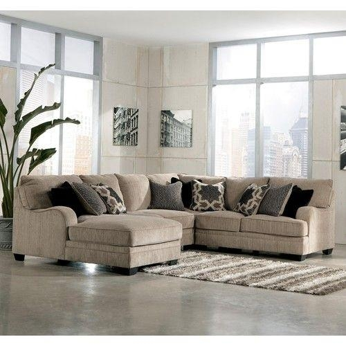 Signature Designashley Katisha – Platinum 4 Piece Sectional Pertaining To Ashley Furniture Leather Sectional Sofas (Image 16 of 20)