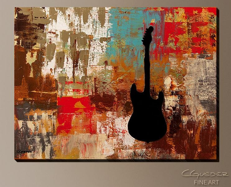 Signed Fine Art Canvas Prints And Posters Of Contemporary Abstract For Guitar Canvas Wall Art (View 3 of 20)