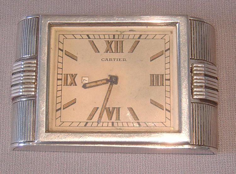 Silver Cartier Art Deco Strut Clock In Silver Hallmarked 1935 Intended For Large Art Deco Wall Clocks (Image 9 of 20)