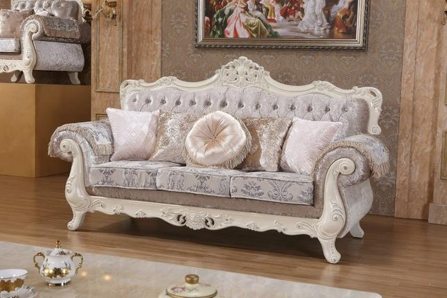 Silver Crystal Tufted Sofa With Pearl White Frame Regarding Silver Tufted Sofas (View 10 of 20)