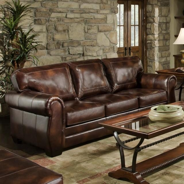 Simmons Encore Vintage Leather Traditional Sofa – Plushemisphere In Simmons Leather Sofas (Image 12 of 20)