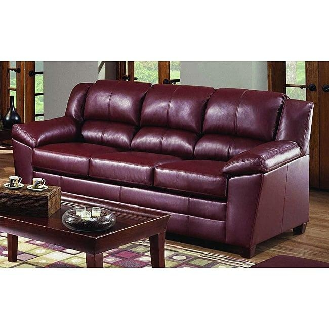 Simmons Paris Wine Leather Sofa – Free Shipping Today – Overstock Within Simmons Leather Sofas (Image 16 of 20)
