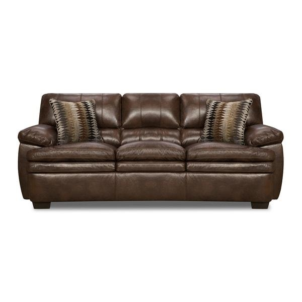 Simmons Upholstery Editor Brown Bonded Leather Sofa – Free Intended For Simmons Bonded Leather Sofas (Image 19 of 20)