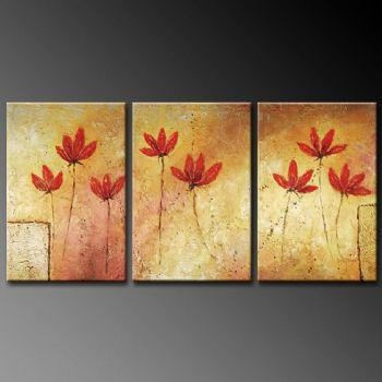 Simple Poppy Flowers Modern Canvas Art Wall Decor Floral Oil With Regard To Oil Painting Wall Art On Canvas (View 14 of 20)