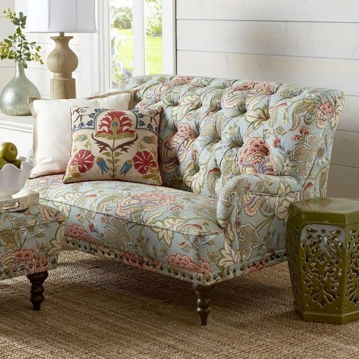 Simple Sofas With Blue Green Floral Slipcovers Furniture Inside Floral Sofas (Image 19 of 20)