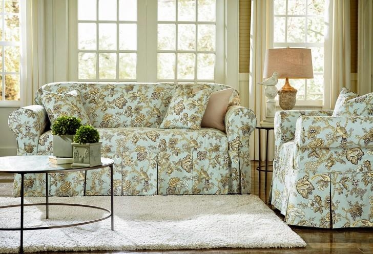 Simple Sofas With Blue Green Floral Slipcovers Furniture Regarding Floral Slipcovers (Image 16 of 20)
