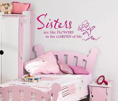 Sisters Are Like Flowers Wall Art Sticker Quote Childrens Girls With Regard To Wall Art For Girls (Image 15 of 20)