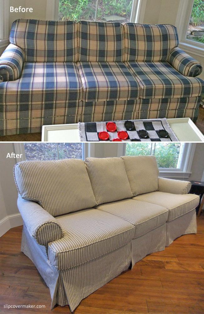 Sleeper Sofa Slipcover In Ticking Stripe | The Slipcover Maker Intended For Striped Sofa Slipcovers (Image 13 of 20)
