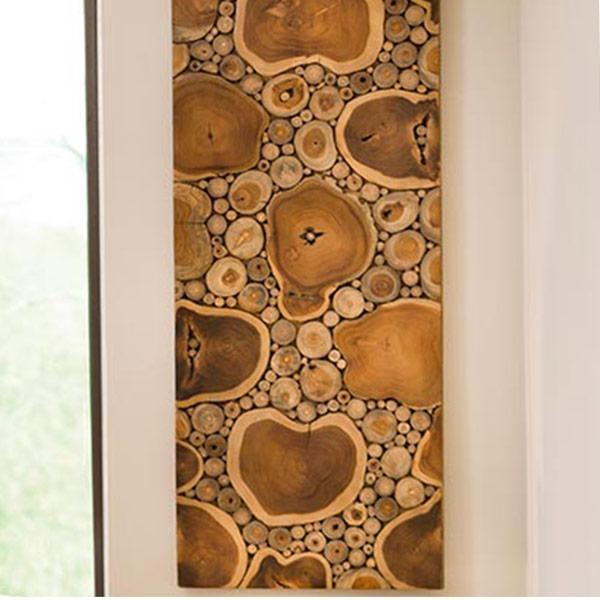 Sliced Teak Wood Panel Wall Art | Vivaterra With Regard To Wood Panel Wall Art (View 5 of 20)