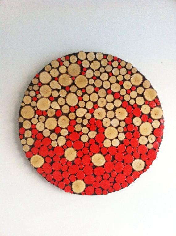 """Sliced Wood Wall Abstract Art Home Decor Rustic Modern 32"""" Large Pertaining To Large Round Wall Art (Image 15 of 20)"""