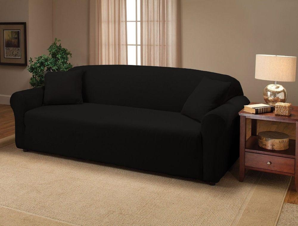 Slip Covers Chair And Black Jersey Sofa Stretch Slipcover Couch Regarding Black Sofa Slipcovers (Photo 1 of 20)