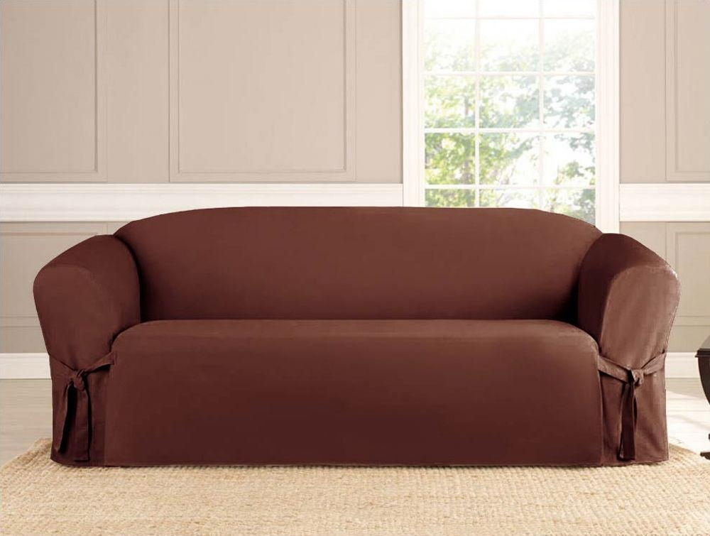 Slipcover Sofa Loveseat Chair Furniture Cover, Brown Black Taupe Intended For Slip Covers For Love Seats (Image 7 of 20)