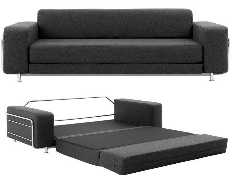 Small Black Leather Couch Black Leather Sofa Bed | Eva Furniture In Small Black Sofas (Image 13 of 20)