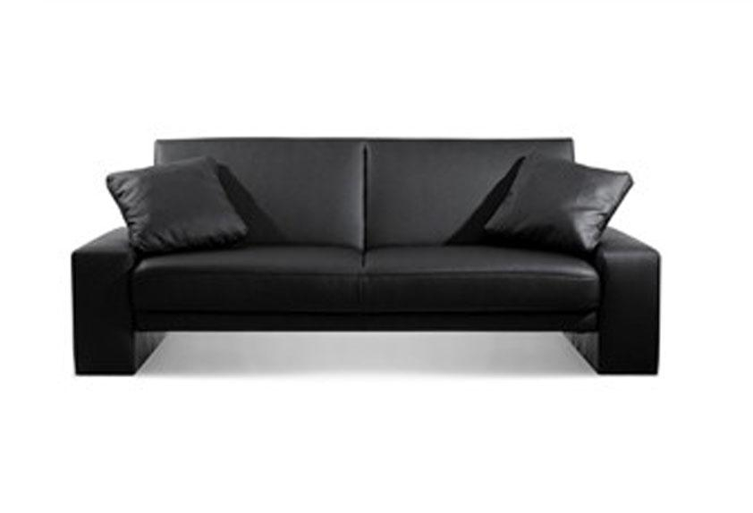 Small Black Leather Couch Black Leather Sofa Bed | Eva Furniture Intended For Small Black Sofas (Image 14 of 20)
