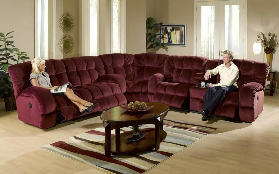 Small Black Oval Sectional Sofa Mixed Green Living Room Wall With Regard To Burgundy Sectional Sofas (View 16 of 20)