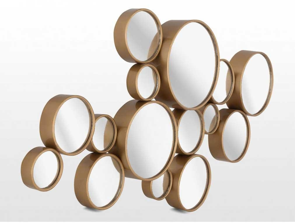 Small Round Mirrors Wall Art Gold Buble Design | Home Interior With Regard To Small Round Mirrors Wall Art (Image 8 of 20)