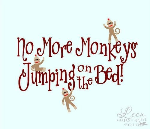 Sock Monkeys No More Monkeys Jumping On The Bed Wall Decal With Regard To Sock Monkey Wall Art (Image 15 of 20)