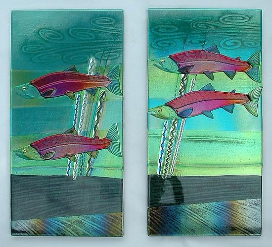 Sockeye Salmon Wall Panelsmark Ditzler (Art Glass Wall Intended For Glass Wall Art Panels (Image 20 of 20)