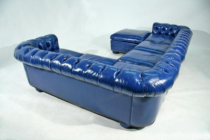 Sofa Beds Design: Amusing Ancient Light Blue Leather Sectional With Regard To Blue Leather Sectional Sofas (Image 18 of 20)