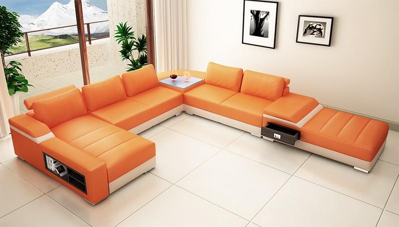 Sofa Beds Design: Latest Trend Of Modern Burnt Orange Sectional For Burnt Orange Leather Sofas (View 9 of 20)