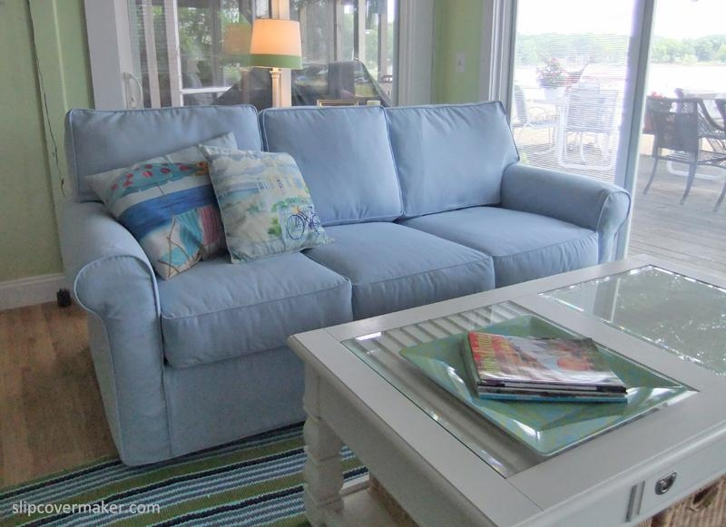 Sofa Slipcover For Summer Cottage Living | The Slipcover Maker Within Blue Slipcovers (View 18 of 20)