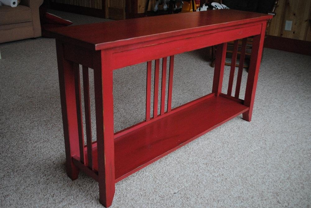 Sofa Table Design: Latest Collection Mission Style Sofa Table In Red Sofa Tables (Image 17 of 20)