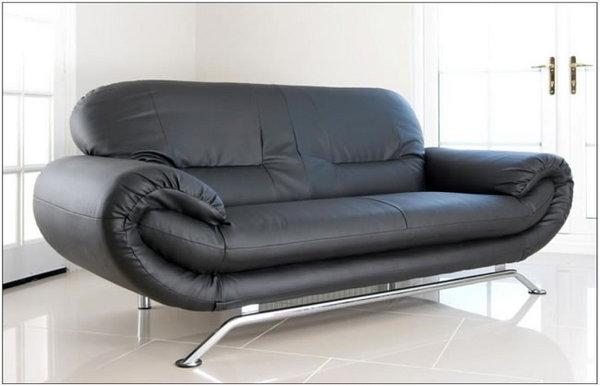 Sofa With Chrome Legs Mid Century Modern Black Leather Sofa With Regarding Sofas With Chrome Legs (Image 14 of 20)