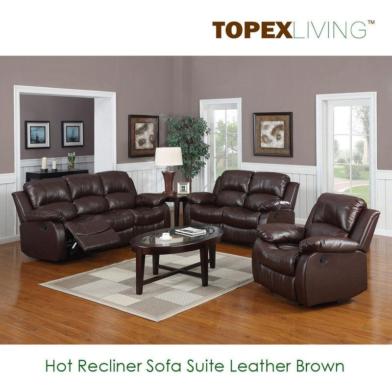 Sofa,loveseat,recliners,chair,leather Brown Sofa Set,bonded For Sofas With Console (Image 11 of 20)