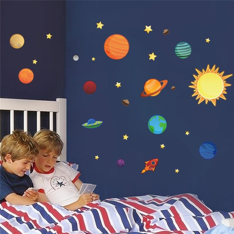 Solar System Wall Stickers For Kids Rooms Stars Outer Space Sky In Solar System Wall Art (Image 18 of 20)