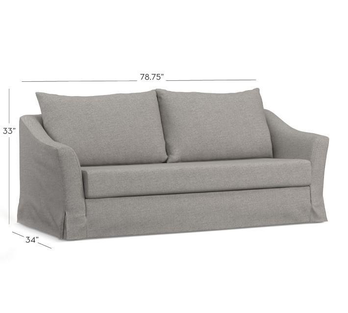Soma Brady Slope Arm Slipcovered Sleeper Sofa | Pottery Barn Regarding Sleeper Sofa Slipcovers (Image 12 of 20)