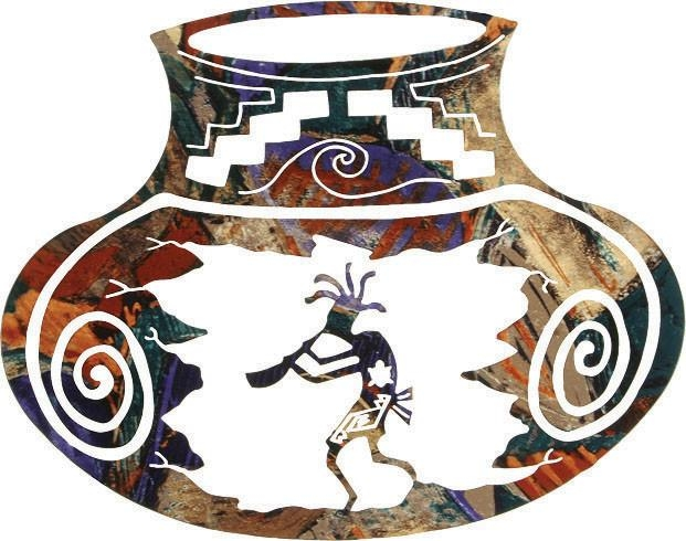 "Southwest Metal Wall Art Kokopelli Pottery Jar 18"" – Rustic Inside Southwest Metal Wall Art (View 3 of 20)"