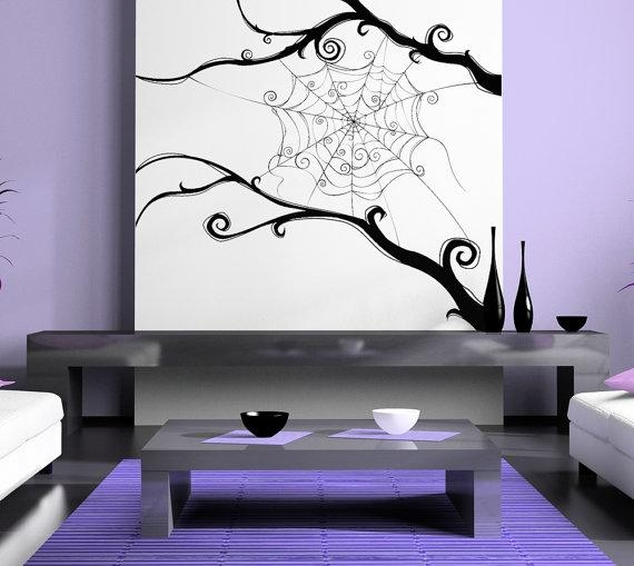 Spider Web Spiderweb Tim Burton Swirl Wall Artwork Within Tim Burton Wall Decals (Image 13 of 20)