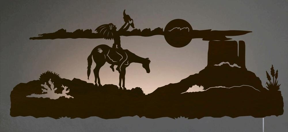 Spirit Talker Southwest Scene Backlit Wall Art 42 Inch Regarding Southwestern Metal Wall Art (View 11 of 20)