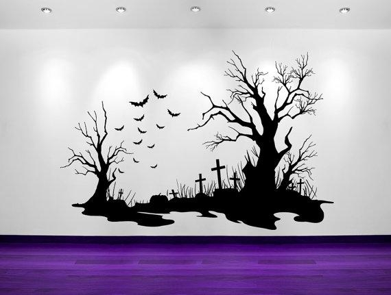 Spooky Halloween Cemetery Scene Bats Tombstones Regarding Tim Burton Wall Decals (Image 14 of 20)