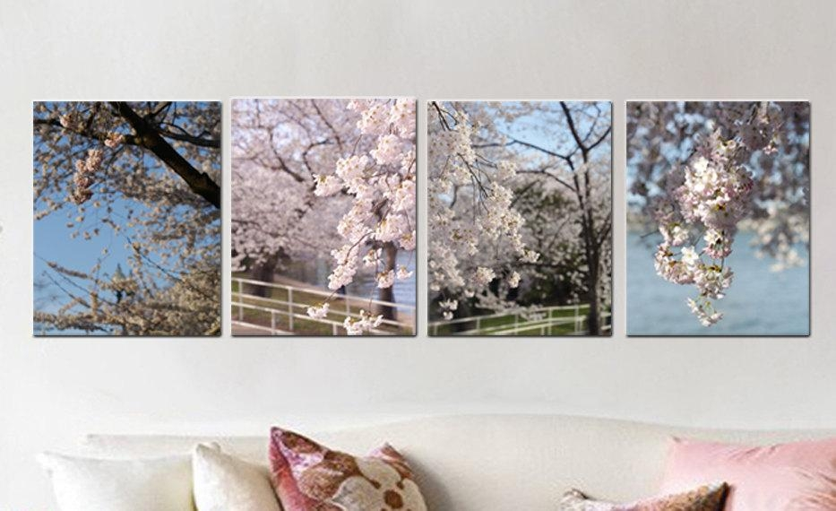 Spring Nature Gallery Canvas Wrap Set Of 4 | Dc Cherry Blossom Decor Pertaining To Wall Art Sets For Living Room (View 11 of 20)